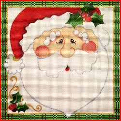 click here to view larger image of Christmas Santa Square 2 (hand painted canvases)