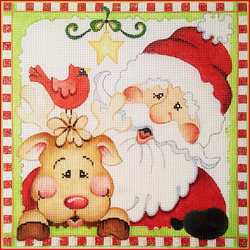 click here to view larger image of Santa And Reindeer (hand painted canvases)