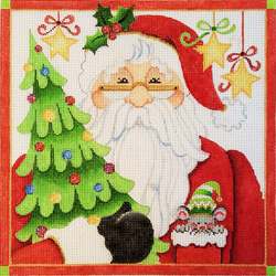 click here to view larger image of Santa And Christmas Tree (hand painted canvases)