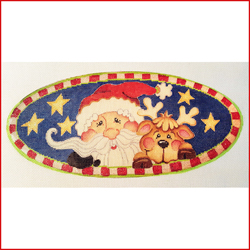 click here to view larger image of Santa and Reindeer Oval (hand painted canvases)