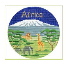 click here to view larger image of Africa Ornament (hand painted canvases)