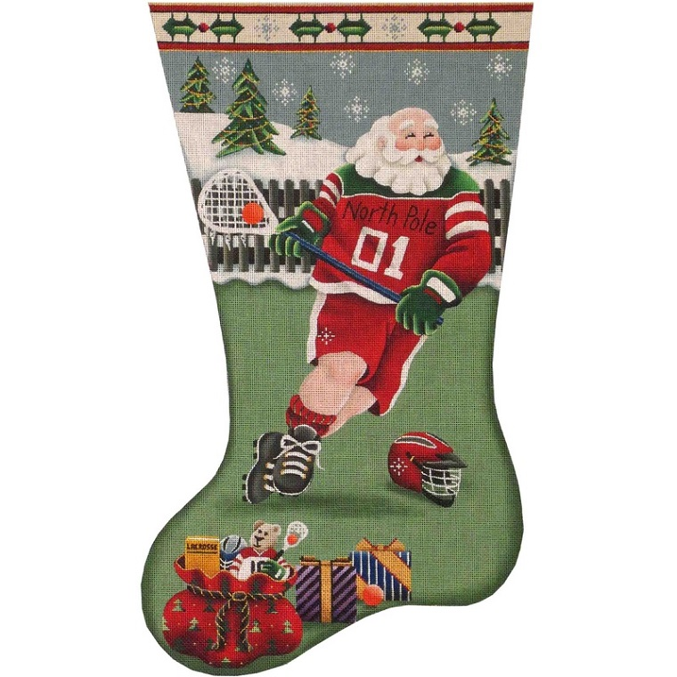 click here to view larger image of La Crosse Santa Stocking - 13ct  (hand painted canvases)