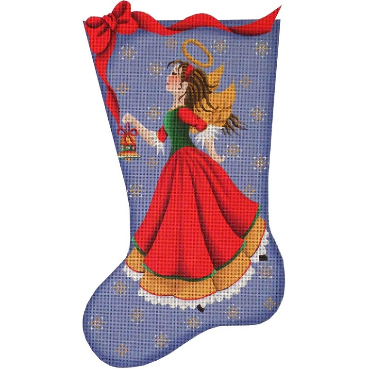click here to view larger image of Bell Angel Stocking - 13ct (hand painted canvases)