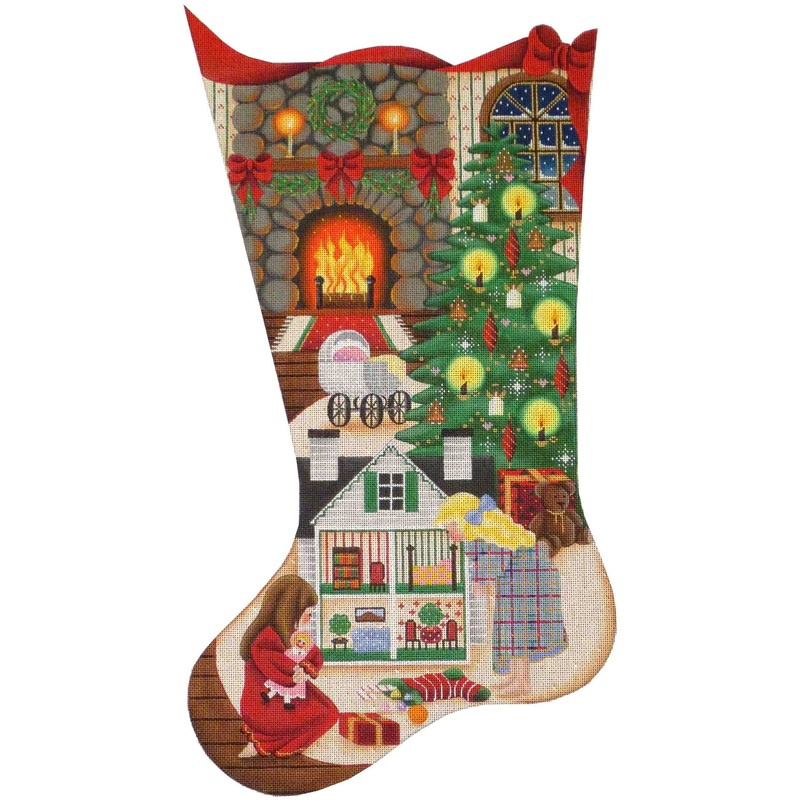 click here to view larger image of Doll House Christmas Stocking - 18ct (hand painted canvases)