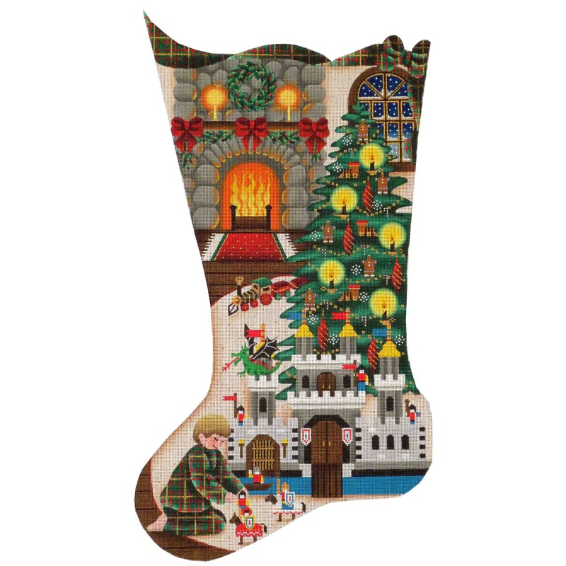 click here to view larger image of Toy Castle Christmas Stocking - 13ct (hand painted canvases)