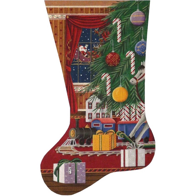 click here to view larger image of Christmas Train Stocking - 13ct (hand painted canvases)