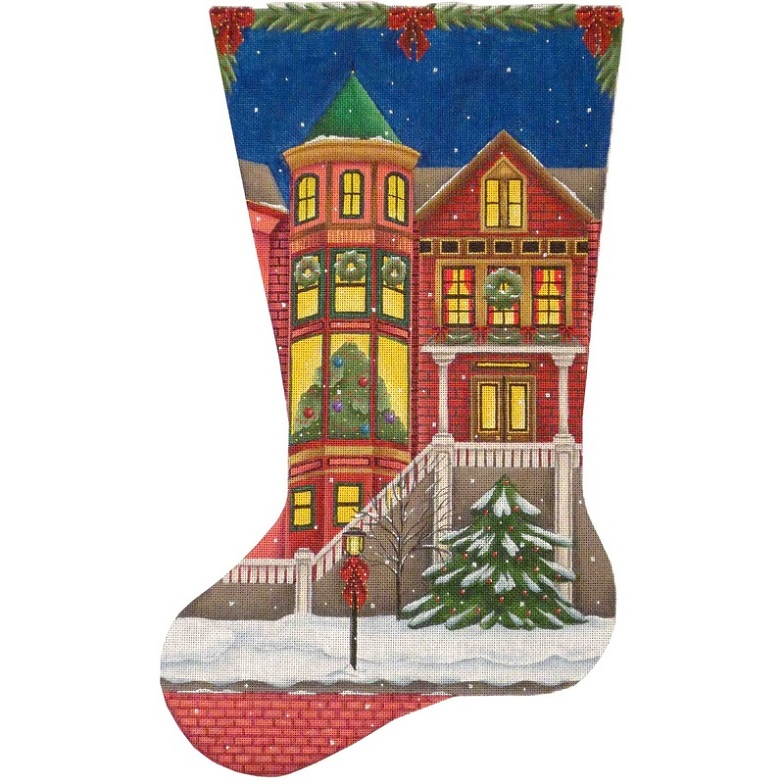 click here to view larger image of Victorian Christmas Stocking - 18ct (hand painted canvases)