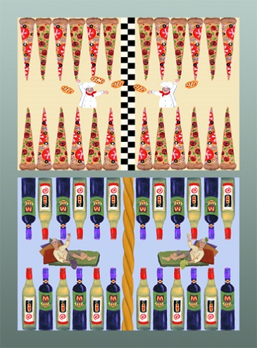 click here to view larger image of Backgammon Board - Pizza (Top) (Custom painted frames)