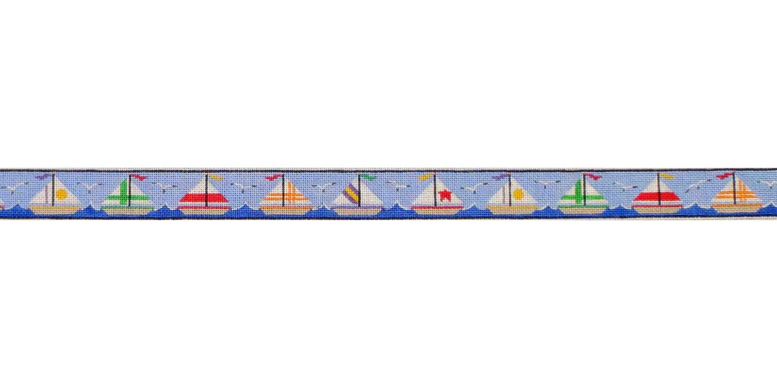 click here to view larger image of Sailing Boats Belt (hand painted canvases)