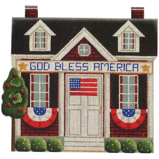 click here to view larger image of Bless America Cottage (hand painted canvases)