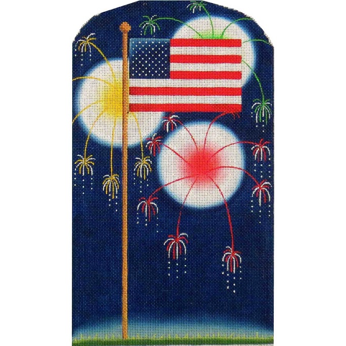 click here to view larger image of Flag and Fireworks (hand painted canvases)