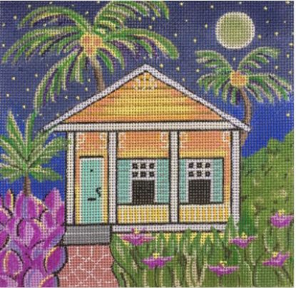 click here to view larger image of Orange Conch Cottage (hand painted canvases)