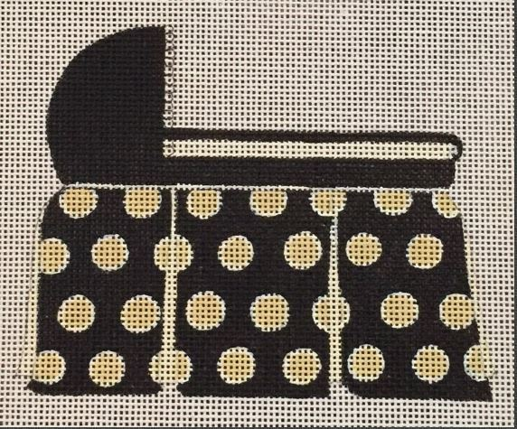 click here to view larger image of Black/Gold Polka Dot Bassinet (hand painted canvases)