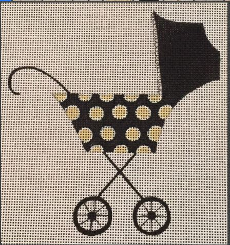 click here to view larger image of Black/Gold Polka Dot Stroller (hand painted canvases)