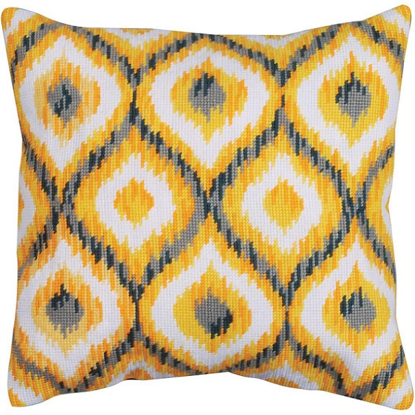 click here to view larger image of Yellow Ikat (needlepoint kits)
