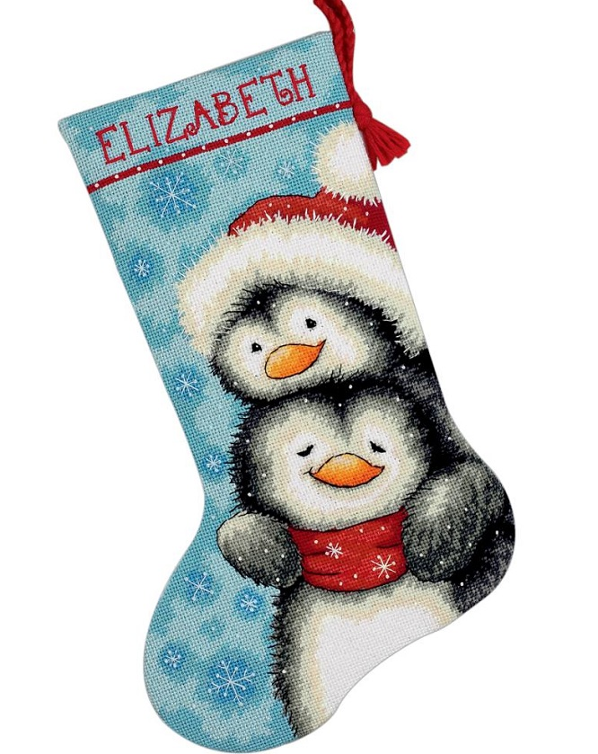 click here to view larger image of Hugging Penguin Stocking (needlepoint kits)