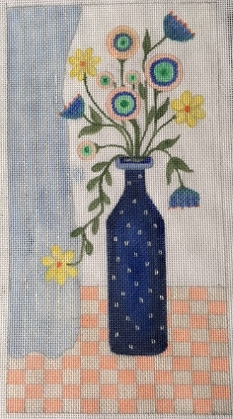 click here to view larger image of Blue Flower Vase (hand painted canvases)