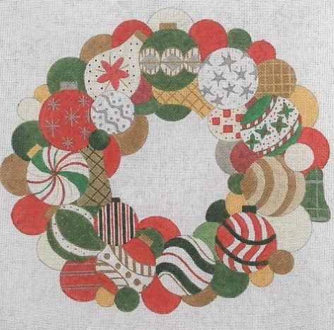 click here to view larger image of Christmas Ball Wreath (hand painted canvases)