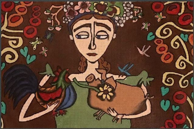 click here to view larger image of Freda With Rooster and Pig (hand painted canvases)