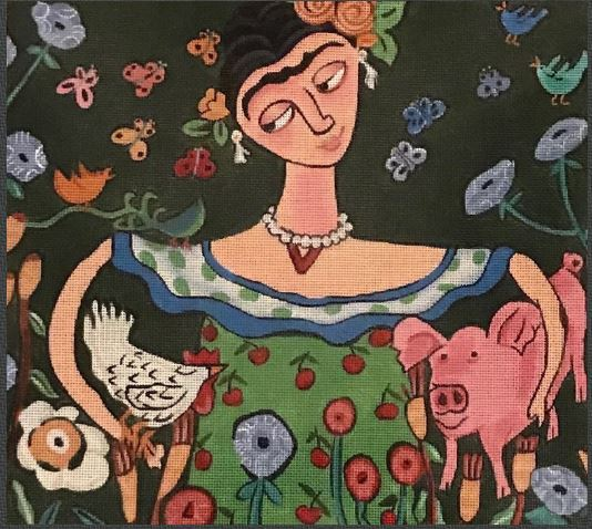 click here to view larger image of Freda With White Chicken and Pig (hand painted canvases)