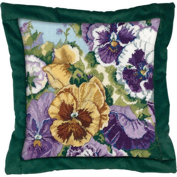 click here to view larger image of Glorious Pansies (needlepoint kits)