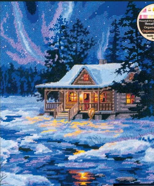 click here to view larger image of Winter Sky Cabin (needlepoint kits)