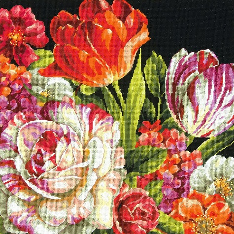 click here to view larger image of Bouquet on Black (needlepoint kits)