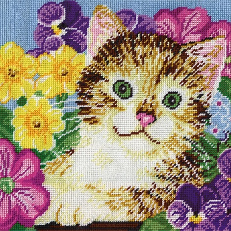 click here to view larger image of Cat in Flowers (needlepoint kits)