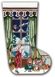 click here to view larger image of Boy At Window Stocking (hand painted canvases)