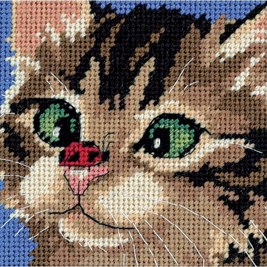 click here to view larger image of Cross-Eyed Kitty (needlepoint kits)