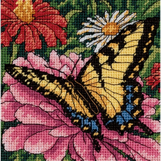click here to view larger image of Butterfly on Zinnia (needlepoint kits)