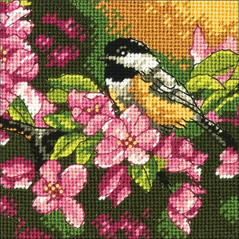 click here to view larger image of Chickadee in Pink (needlepoint kits)