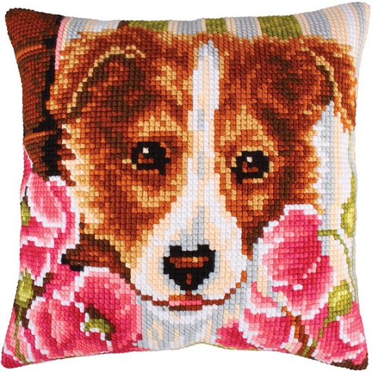 click here to view larger image of Dog and Pink Poppies (needlepoint kits)