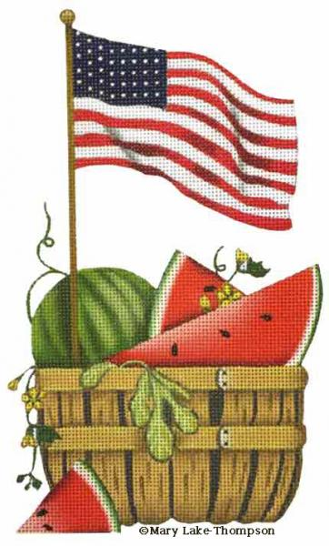 click here to view larger image of Watermelon Flag (hand painted canvases)