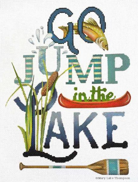click here to view larger image of Go Jump in the Lake (hand painted canvases)