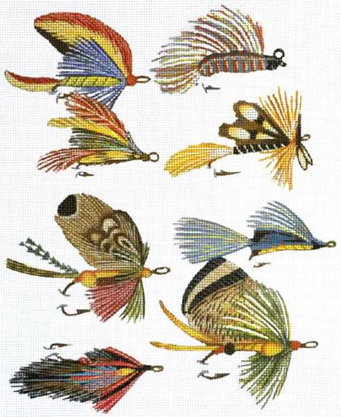 click here to view larger image of Fish Flies and Lures (hand painted canvases)