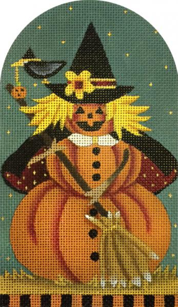 click here to view larger image of Broom Punkin Witch (hand painted canvases)