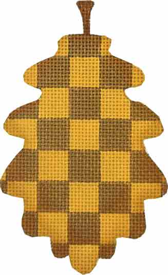 click here to view larger image of Checkered Leaf Ornament (hand painted canvases)