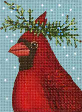 click here to view larger image of Cardinal Cedar Ornament (hand painted canvases)