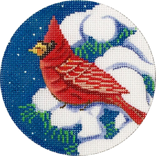 click here to view larger image of Cardinal In Tree Ornament (hand painted canvases)