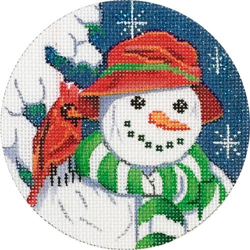 click here to view larger image of Snowman and Cardinal Ornament (hand painted canvases)