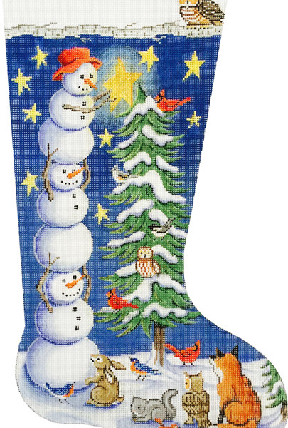 click here to view larger image of Tree Trimming Snowman Stocking (hand painted canvases)