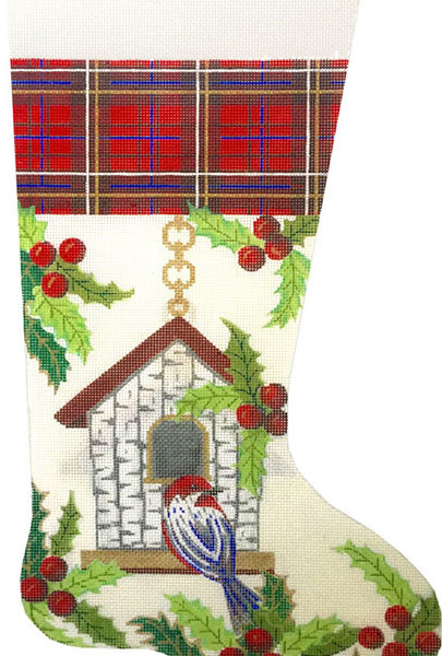 click here to view larger image of Birdhouse Stocking (hand painted canvases)