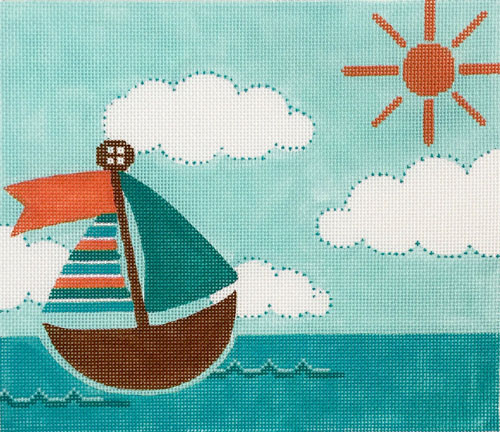 click here to view larger image of Sailing Birth Announcement - Coral and Teal (hand painted canvases)