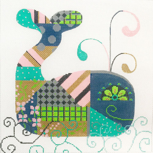 click here to view larger image of Patchwork Whale (hand painted canvases)