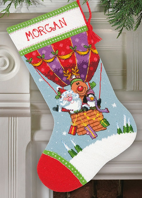 click here to view larger image of Santas Balloon Ride Stocking (needlepoint kits)