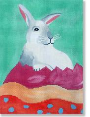 click here to view larger image of Bunny In Easter Egg (hand painted canvases)