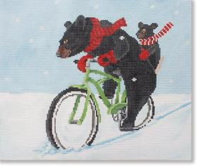 click here to view larger image of Bear Riding Bike (hand painted canvases)