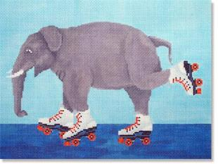 click here to view larger image of Elephant Roller Skating (hand painted canvases)