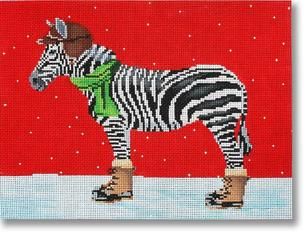 click here to view larger image of Zebra Dressed For Winter (hand painted canvases)